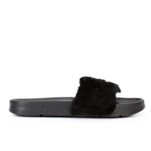 Тапки женские Fila Faux Fur Pool Slide Sandals Black